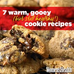 7 Warm, Gooey (But Still Healthy!) Cookie Recipes - Sounds too good to be true, but still better to have a 'healthy' cookie for a treat than a really unhealthy one Healthy Cookie Recipes, Healthy Cookies, Healthy Desserts, Delicious Desserts, Dessert Recipes, Cooking Recipes, Yummy Food, Tasty, Healthy Food