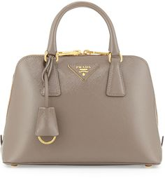 Prada Mini Double-Handle Trapezoid Bag, Gray (Argilla)