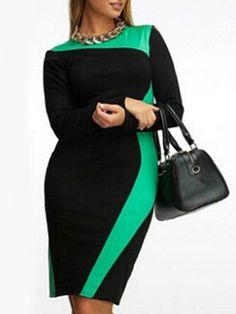 6df3b174a56 Color Block Round Neck Plus Size Bodycon Dress fashionmia.com Mini Plus