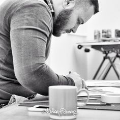 In the studio working on a new print … Adrian+Shane  #AdrianAndShane #artists #artiststudio #beards