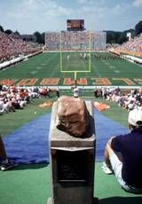 "Howard's Rock- Before each home game, Clemson players gather around Howard's Rock, rub it for good luck, then race down ""The Hill"" into the stadium known as ""Death Valley."" The sight of those orange-clad Tigers rushing into the stadium has been called ""the most exciting 25 seconds in college football."""