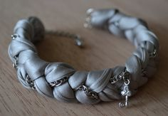 CHEAP and chic Gray Silk fabric & Silver Bangle/Bracelet $13.50