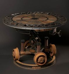 The work of Cory Barkman. Industrial revolution furniture, sculpture, and design. Not your standard Steampunk, indeed.