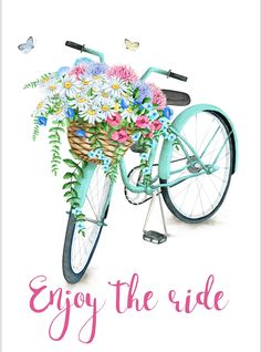 I made this pretty printable for you. I love bicycle prints and this one with the basket full of pretty flowers is one of my favorites.