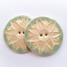 Peachy Sage Flower Porcelain Buttons by carolmilich on Etsy, $12.00