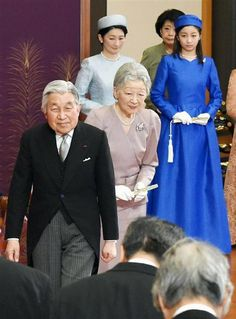 imperialfamilyofjapan: Japanese Imperial Family attended the Imperial New Year's Lectures, January 9, 2015-Emperor Akihito, Empress Michiko, Princess Kiko, Princess Kako