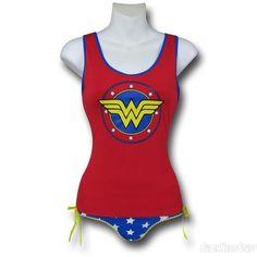 Wonder Woman Lace-Back Tank & Panty Set
