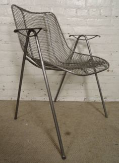 Mid-Century Modern Wire Arm Chair   From a unique collection of antique and modern armchairs at https://www.1stdibs.com/furniture/seating/armchairs/