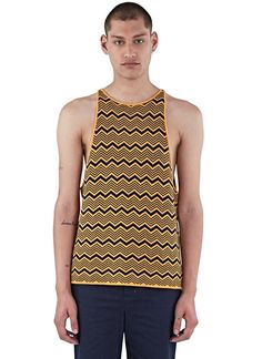 Men's Tops - Clothing | Find more at LN-CC - Depara Zigzag Knit Vest Top