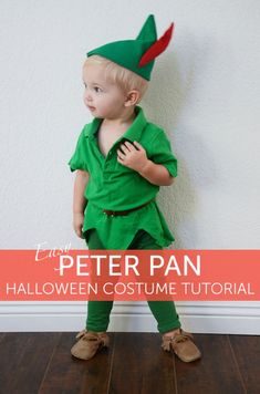 DIY Peter Pan Costume Diy Peter Pan Costume, Peter Pan Halloween Costumes, Batgirl Halloween Costume, Boxer Halloween, Maleficent Costume Kids, Pumpkin Halloween Costume, Boy Costumes, Disney Costumes, Homemade Halloween