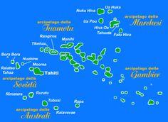 Polinesia...meta sognata ed agognata per i viaggi di nozze! Ne avete sempre sentito parlare ma avete idea di come siano distribuite le isole e più di tutto dove è Bora Bora, Thaiti ... ? Ecco qui una cartina semplice per schiarirvi le idee!