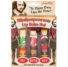 "Shakespeare lip balm - one of several ""Bookish Gifts for $20 or Less"""