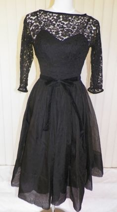 Black Lace Swing Dress at The Pink Poodle Vintage Clothing store Boho Fashion, Vintage Fashion, Pink Poodle, Vintage Clothing Stores, Swing Dress, Vintage Ladies, 1950s, Vintage Outfits, Retro