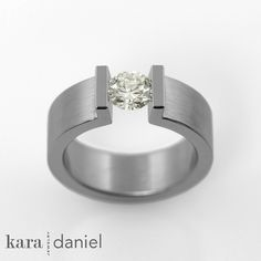 vintage diamond ~ upright prong tension-set engagement ring by kara | daniel, via Flickr
