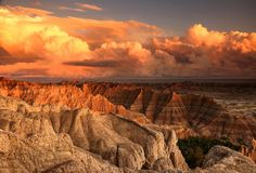 Picture of storm clouds at sunset over the Badlands, South Dakota