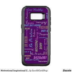 """Galaxy S8+ CHOOSE YOUR BACKGROUND COLOR Inspirational and motivational Otterbox Samsung Galaxy S8+ case! Printed with sayings you can personalize in gray and pastel yellow, blue, green, and purple. Sayings include """"Enjoy Life"""", """"Believe"""", """"Relax"""", """"Be Happy"""", """"Reflect"""", """"Persevere"""", and more - and you can easily personalize them! Click """"Customize"""" to change background color, or keep our rich aubergine purple design. All Rights Reserved © 2017 Alan & Marcia Socolik."""