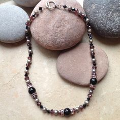 Crystals, Pearls and Black Onyx Necklace
