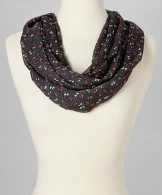 Take a look at this Black & Red Butterfly Infinity Scarf by SAKA INC. on #zulily today!