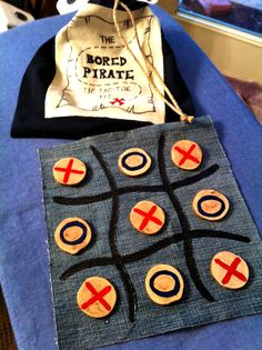 Tic Tac Toe Kit - Bored Pirate Game for Kids, Up-Cycled Denim, Jersey, and Wood Toy, $25.00. Cute unplugged gift for kids' birthdays or for traveling. @beccajcampbell
