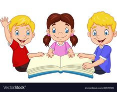 Cartoon happy kids reading a book Royalty Free Vector Image