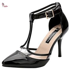Oasap Women's Pointed Toe Buckle Stiletto Heels Pumps, Black EURO35/US4/UK2 - Chaussures oasap (*Partner-Link)