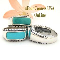 Four Corners USA Online - Sizes 7 To 9 Turquoise Sterling Silver Ring Southwestern Design Jewelry FCR-1491 Closeout Final Sale, $24.00 (http://stores.fourcornersusaonline.com/sizes-7-to-9-turquoise-sterling-silver-ring-southwestern-design-jewelry-fcr-1491-closeout-final-sale/)