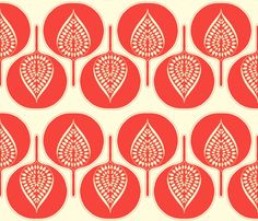 tree_hearts_coral fabric by holli_zollinger for sale on Spoonflower - custom fabric, wallpaper and wall decals