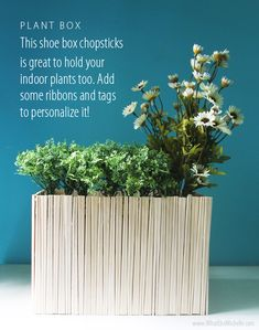 Make an old shoe box into a storage container or plant box by surrounding it with chopsticks