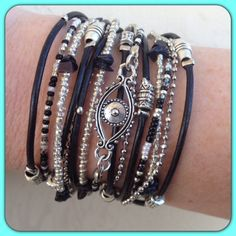 Evil Eye Wrap Bracelet// Leather and Beaded Wrap Bracelet// Black & Silver…