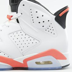 "These were my first pair of Jordan's when I was a kid, maybe 10 or 11. The Air Jordan 6 Retro ""White/Infrared"" launches 2/15 on Nike.com. It features a white leather upper with eye-catching pops of Infrared on the heel."