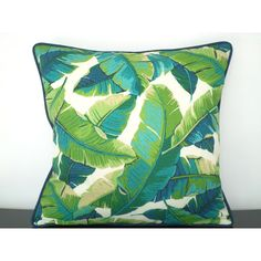 Tropical outdoor pillow case 18x18, green outdoor bench cushion, banana leaf pillow, green and turquoise pillow, palm tree decor ($35) found on Polyvore featuring home, outdoors, outdoor decor, outdoor palm plants, outdoor accent pillows, outdoor garden decor, tropical patio decor and outside garden decor