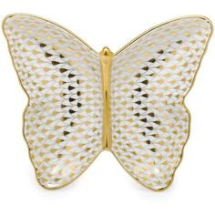 Martin's Herend Butterfly Pin Dish ($345) ❤ liked on Polyvore featuring home, kitchen & dining, serveware, gold, herend dishes, butterfly dishes and herend