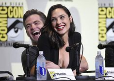 Chris Pine and Gal Gadot at an event for Wonder Woman Gal Gadot Chris Pine, Taurus, Gal Gabot, Gal Gadot Wonder Woman, Superman Wonder Woman, Dc Memes, Press Tour, Funny Moments, Justice League