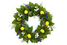 Lemon Floral Wreath on OneKingsLane.com