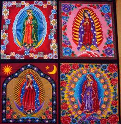 Our Lady of Guadalupe fabric Religious Icons, Religious Art, Mexican Designs, Mexican Folk Art, Mexican Style, Blessed Virgin Mary, Arte Popular, Blessed Mother, Sacred Art