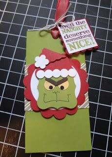 pull-out gift card holder, Grinch punch art