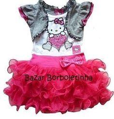 Vestido Infantil Festa Tutu Hello Kitty Bailarina - R$ 59,00 - este tb ta fofo! e mais barato!