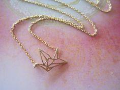 Kleine Origami Vogel Goldkette...einfache von blueJboutique7