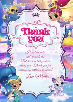 Shimmer and Shine Birthday Invitations, Shimmer and Shine Party, Shimmer and Shine Invitation,Shimme Shimmer N Shine, Photo Center, Birthday Invitations, Thank You Cards, You And I, Smurfs, Presents, Handmade Gifts, Party