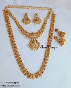 Combo Necklace Set From Shree Designs ~ South India Jewels Gold Earrings Designs, Jewellery Designs, Necklace Designs, Bridal Jewelry, Gold Jewelry, Gold Bangles, Jewelry Rings, Jewlery, Indian Jewelry Sets