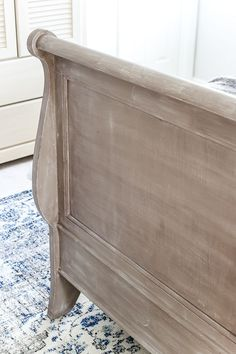 Painted Weathered Wood Bed Makeover | blesserhouse.com - A thrifted bed gets a painted weathered wood Restoration Hardware look ((dressers and armoire.