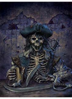 Late Pirate (original art) : The Imagination Aperture of Alan M. Clark, Come In and Bring Your Imagination with You Pirate Art, Pirate Skull, Pirate Life, Pirate Ships, Pirate Decor, Tattoo Studio, Charles Vane, Golden Age Of Piracy, Pirate Tattoo
