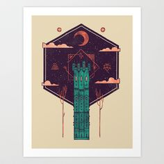 The Tower Azure Art Print by Hector Mansilla - $18.00