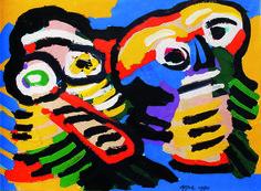 Karel appel (amsterdam, 1921 – zurich, 2006 ) personnages, 1980 acrylique sur toile signé et daté en bas vers la droite 56 x 76 cm