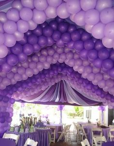 Amazing purple balloons decorations, draping and tablescape!