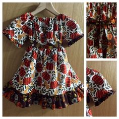 Fall/Thanksgiving Boho Peasant/Prairie Dress, girls size 5 by SewMeems on Etsy