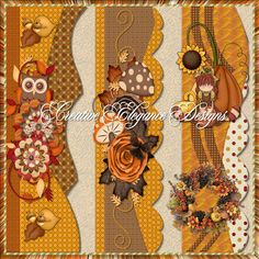 Scrapbooking TammyTags -- TT - Designer - Creative Elegance Designs, TT - Item - Border, TT - Style - Cluster, TT - Theme - Autumn or Thanksgiving