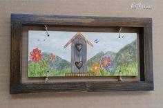 Cornice portachiavi con decorazione dipinto stile country shabby. €14+ss
