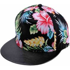 ZLYC Women s 2015 Flatbill Visor Snapback Baseball Hat Floral Print...  ( 11) ❤ liked on Polyvore featuring accessories e7c4e5993673