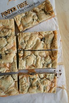 Pumpkin Fudge Chocolate Chip Cookie Bars